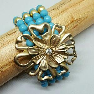 Robin's egg blue beaded and gold bracelet